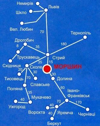 Карта проезда Моршин, схема